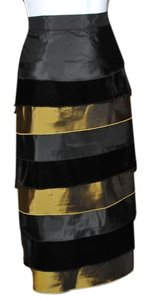 Focus By Shani Silk Fully Lined Velvet And Silk Layers Falls Below The Knee Elastic In Waist Band For Comfort Skirt Black & Gold