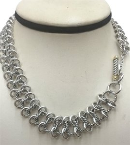 David Yurman RARE David Yurman Authentic Sterling Silver & 18k Gold Cable Link Necklace,16in