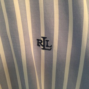 Ralph Lauren Classic Office Work Button Down Shirt Blue and White Stripe