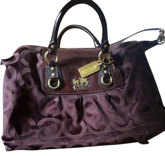 Preload https://item4.tradesy.com/images/coach-madison-op-art-sateen-sabrina-12943-brown-jacquard-and-leather-satchel-909528-0-0.jpg?width=440&height=440