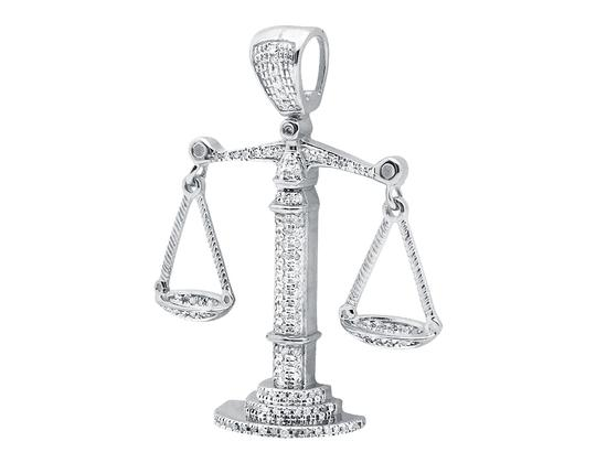 Jewelry Unlimited 10k White Gold Lucky Libra Weighing Scale 1.5 Inch Diamond Pendant Charm 0.55ct