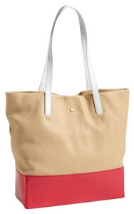 Pour La Victoire Leather Hobo Tote in Nude And Red