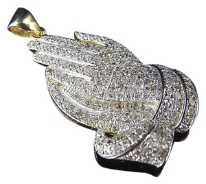 Jewelry Unlimited New 10K Yellow Gold Genuine Diamond Iced Out Prayer Hands Pendant (0.75Ct) 1.25