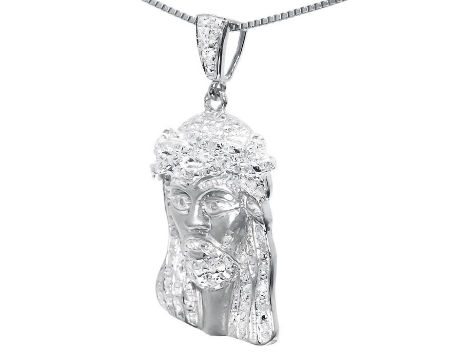 Jewelry unlimited 10k white gold mens ladies 125 genuine diamond jewelry unlimited 10k white gold mens ladies 125 genuine diamond mini jesus pendant charm 050 ct necklace tradesy aloadofball Image collections