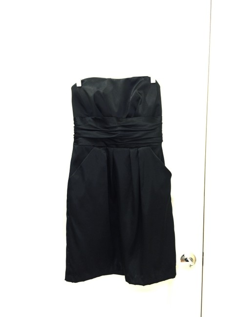 Item - Black Satin Short Charmeuse Ruched Waist and Pocket Style 83707 Modern Bridesmaid/Mob Dress Size 6 (S)