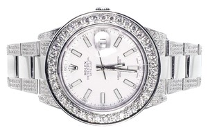 Rolex Custom Mens Mm White Rolex Datejust Ii With Genuine Diamonds Ct