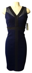 Sangria Navy Textured Sheer Panel Stretchy Cocktail Career Work Size: 2 Sleeveless Dress