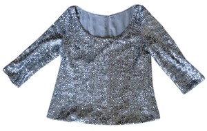 Forever 21 Sequin Dressy Formal Holiday Blouse Top Silver