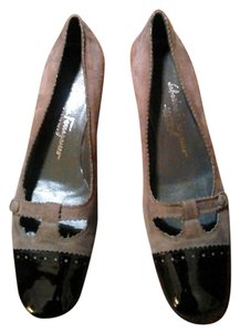 Salvatore Ferragamo Suede Patton Leather Gray Flats