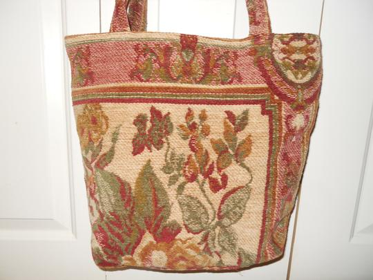 Other Tote in tan, red & green