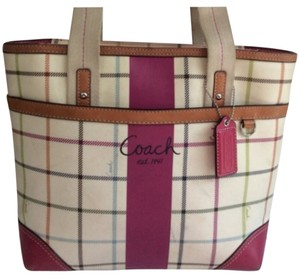 Coach Tote in Cream And Pink