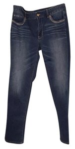 White House | Black Market Logo Stretchy Embellished Skinny Pants Blue denim