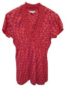 Al Last Medium Red Polka Dot Short Sleeve Vneck Brown Blue Offwhite Elastic Swim Suit Cover Up Top Multi
