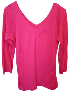 American Rag Small Hot Deep V Front T Shirt Pink