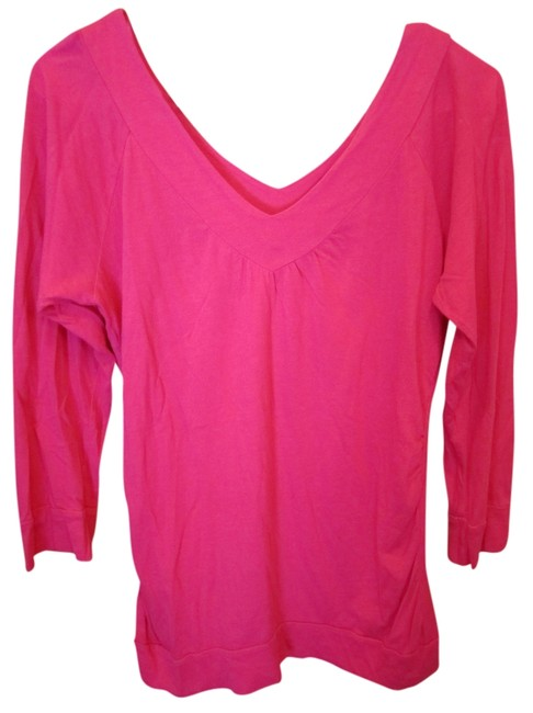 Preload https://item2.tradesy.com/images/american-rag-pink-small-hot-deep-v-front-t-shirt-909676-0-0.jpg?width=400&height=650