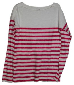 Ann Taylor LOFT T Shirt Red and Ivory
