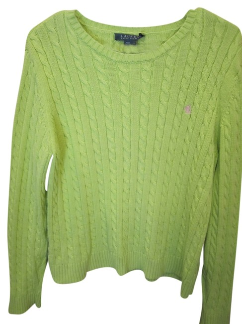 Ralph Lauren Large Bright Cable Crew Long Sleeve With Pink Logo Sweater