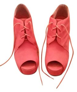 Other Suede Lace-up Bootie Open Toe orange, pink Wedges