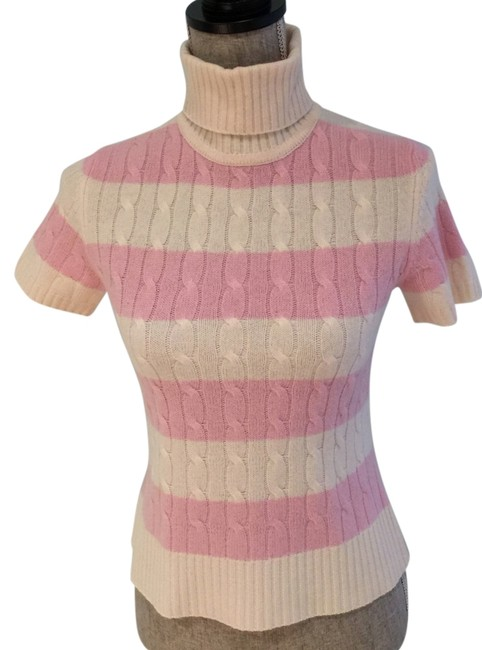 Preload https://img-static.tradesy.com/item/9098152/lord-and-taylor-pink-and-ivory-striped-cable-knit-cashmere-small-sweaterpullover-size-6-s-0-2-650-650.jpg