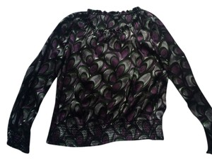 Alfani 100% Silk Top Black print