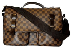 Louis Vuitton Damier Canvas Broadway Laptop Cross Body Brown Messenger Bag