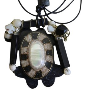 Other Mother of Pearl Marble Wire Wrap Pendant on Black Cord