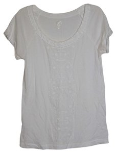 Ann Taylor LOFT T Shirt White Beaded