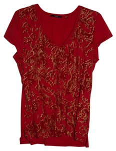 Tahari T Shirt Rust/Red/Gold