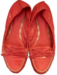 Coach Bow Patent Leather Drivers Preppy Pink Flats