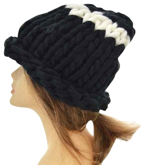 Preload https://item1.tradesy.com/images/black-finland-style-lovely-and-warm-chic-chunky-big-yarn-knitted-beanie-winter-cap-hat-9099325-0-2.jpg?width=440&height=440