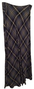 The Limited Maxi A-line Maxi Skirt Blue/Black/Gray Diagonal Plaid