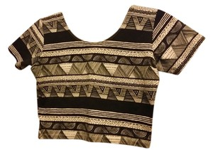 American Apparel Tribal Print Crop Casual T Shirt black and white