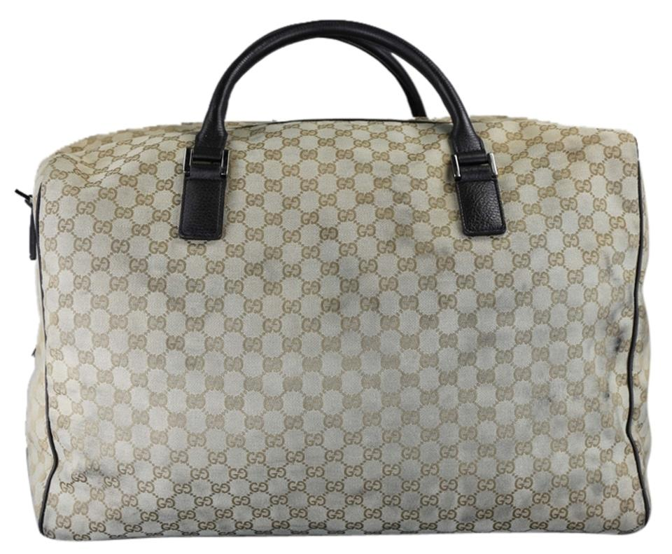 ca1a18f4b7d6e Gucci Vintage Gg Signature Duffle Beige Canvas Weekend Travel Bag ...