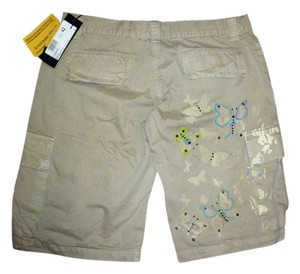 ATOS LOMBARDINI - MADE IN ITALY Bermuda Safari Da Nang Studs Hand Painted Embellished Import Imported Khaki Beige Nude Neutral Destructed Cargo Shorts BEIGE KHAKI