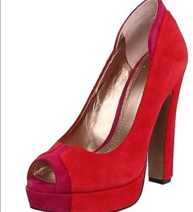 BCBGeneration Suede Patent Leather Red Pumps