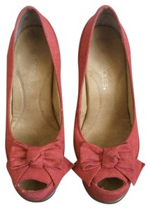 Aerosoles Open Toe Material Bow Coral Wedges