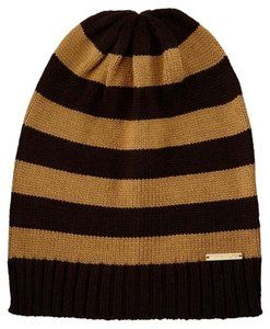 Michael Kors Michael Kors Striped Ribbed-Trim Slouchy Hat and matching Gloves Chocolate/Dark Camel