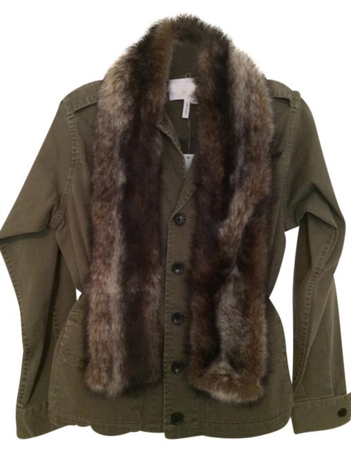 Item - Dark Olive Drawstring with Faux Fur Collar Affixed To The Lapel. Jacket Size 2 (XS)