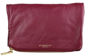 Burberry Leather Red Burgundy Clutch