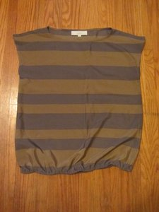 Ann Taylor LOFT Stripe Sleeveless Top Camel / Grey