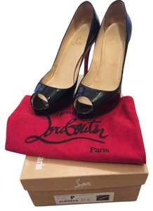 Christian Louboutin Very Prive 120 37.5 Heels Open Toe Black patent leather Platforms