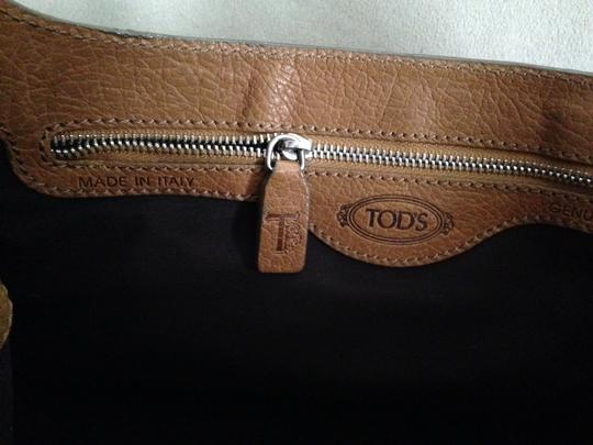 Tod's Brown/Black Silver Hardware Overap Band Fabric Lining Int. Zipped Pocket Hobo Bag