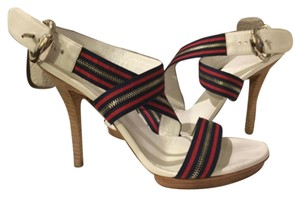 Gucci White, navy blue, red Sandals