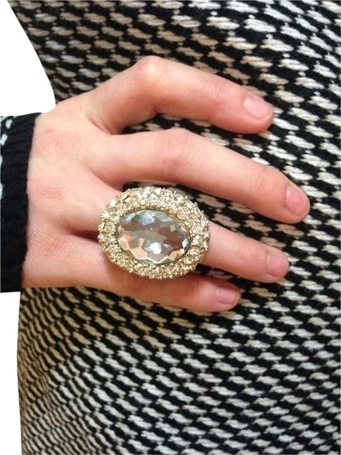 Item - Gold And Crystal Dazzling Cocktail Ring