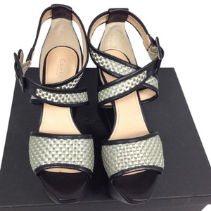 Calvin Klein Collection Leather Exclusive Wedge Silver/ Black Wedges