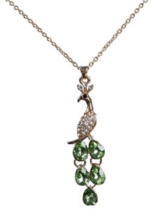 Other New 14K Gold Filled Green Crystal Peacock Necklace J1539