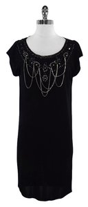 Alice + Olivia short dress Black Embellished Cap Sleeve on Tradesy