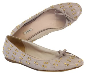 Miu Miu Lilac Leather Studded Flats