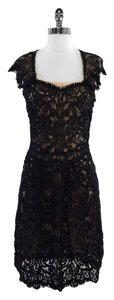 Yoana Baraschi Black Nude Lace Overlay Dress
