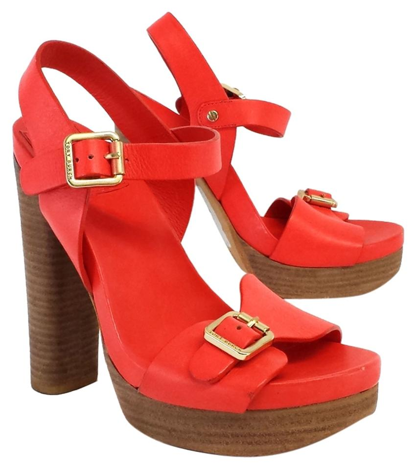 Tory Burch Coral Leather Heels Platform Heels Leather Sandals ba56fb